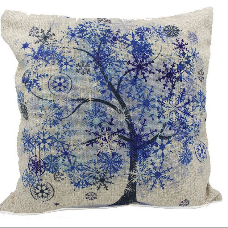 Ice Blue Cotton Pillow Cushions Tree Vigor, Decorative Throw Pillow Cover, Cushion Cover, Throw ...