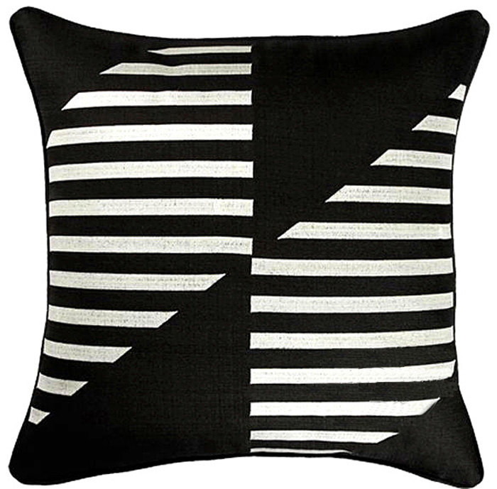 Black And White Striped Print Pillow Cushions Moroccan