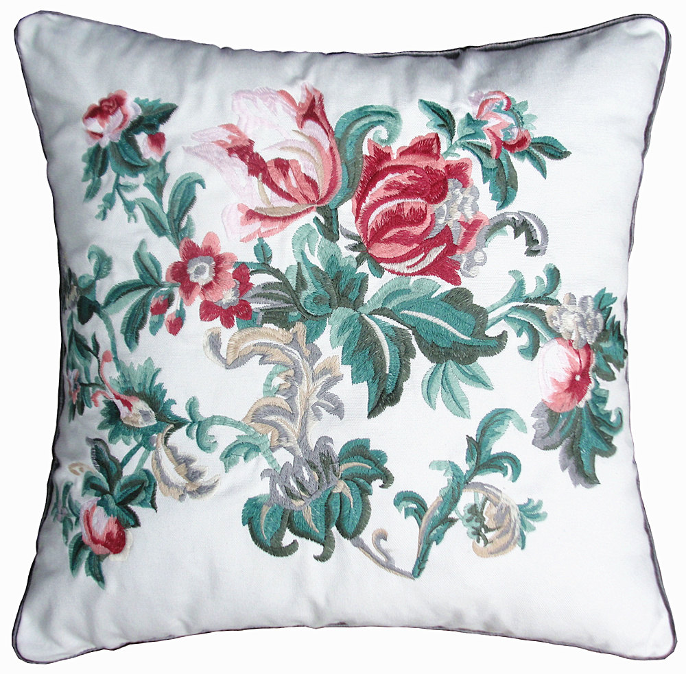 Square Pillow Cushions Embroidered Floral Leaf, Floral Throw Pillows, Cushion Pillow ...